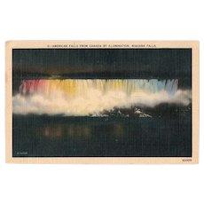 1938 Niagara Falls at Night Linen Postcard 2 Green Ben Franklin One Cent Stamp
