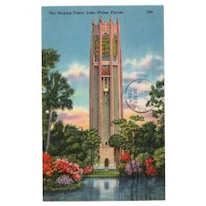 1964 The Singing Tower Lake Wales Florida Linen Postcard