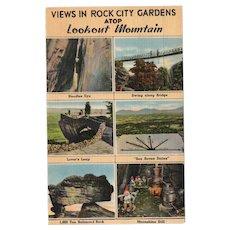 1941 Views in Rock City Gardens Atop Lookout Mountain Linen Postcard