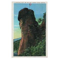1936 Chimney Rock Western North Carolina NC Linen Postcard Franklin 1c Stamp