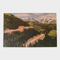 1953 Mt Ypsilon Mummy Range Trail Ridge Road Colorado Linen Postcard