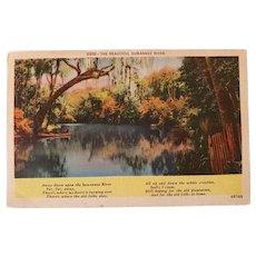 1950 Suwannee River Georgia Linen Postcard w/ Poem