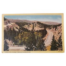 1940's Beautiful Highway Through The Mountains Linen Postcard