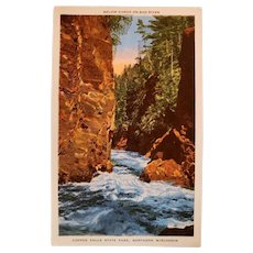 1930's Copper Falls State Park Wisconsin Bad River Postcard