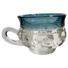 Tiffin Glass Blue Kings Crown Cup
