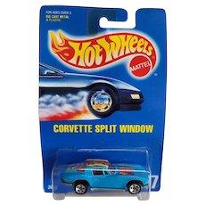 1991 Hot Wheels Car Corvette Split Window Blue w/ Colors On Top # 197