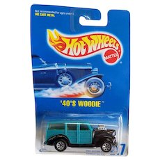 1991 Hot Wheels Car 1940's 40's Woodie Teal & Black # 217