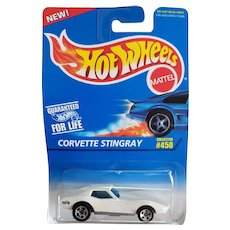 1995 Hot Wheels Car White Corvette Stingray # 450
