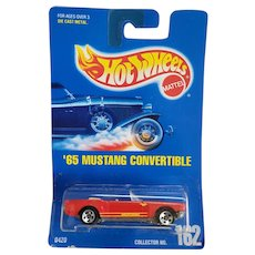 1991 Hot Wheels Car 65 1965 Mustang Convertible Red # 162