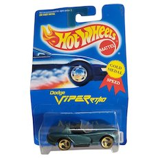 1991 Hot Wheels Car Dodge Viper Rt 10 3 Spoke Wheels # 210 Hunter Green