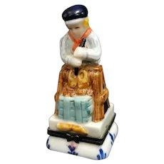 Delft Blue Porcelain D.A.I.C. Hinged Dutch Boy Trinket Box
