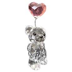 Swarovski Crystal Kris Bear With Heart Shaped Pink Balloon