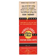 30's or 40's Perfect Circle Custom Made Piston Ring Sets Matchbook Cover