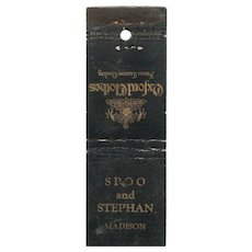 1930's Oxford Clothes Spoo & Stephan Madison WI Matchbook Cover