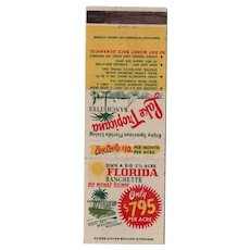 1940's Lake Tropicana FL Ranchettes Vintage Matchbook Cover