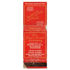 1940's The Union News Company Pennsylvania Railroad Stations Matchbook Cover