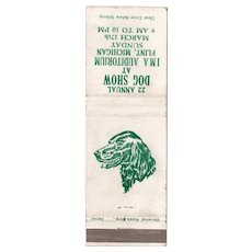 1950's 22nd Annual Dog Show at IMA Auditorium Flint MI Matchbook Cover
