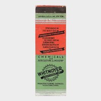 1930's Whitmoyer Laboratories Myerstown PA Vintage Matchbook Cover Matchcover