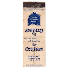 1940's The City Loan Ohio OH Vintage Matchbook Cover Matchcover