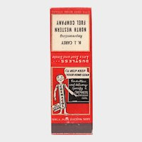 1940's HJ Carey North Western Fuel St Paul MN Chemacol Coal Matchbook Cover