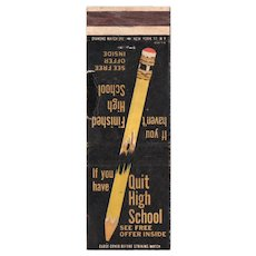 Vintage High School At Home Broken Pencil Matchbook Cover