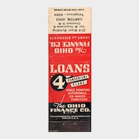 1940's The Ohio Finance Co Loans Vintage Matchbook Cover Matchcover