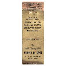 1940's Norma D Senn La Salle St Chicago IL Vintage Matchbook Cover
