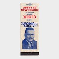 Vintage Gene Clock Democratic Councilman Muncie IN Matchbook Cover