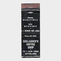 Vintage Shelander's Coffee Shop Dayton OH Matchbook Cover Matchcover