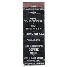 Vintage Shelander's Coffee Shop Dayton OH Matchbook Cover Matchcover