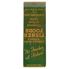 Vintage Fisher Food Stores Cleveland OH Matchbook Cover Matchcover