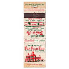 Vintage Fox Farm Inn Anderson's Drive In Washington Chillicothe OH Matchcover
