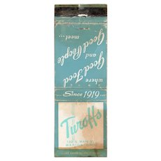 Vintage Turoffs Restaurant Marion Ohio Matchbook Cover Matchcover Ohio