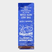 Vintage The Hut Nite Club Willowville OH Matchbook Cover Route 74 Ohio