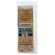 1930s H Kaplan Delicatessen Buffalo NY Cigars & Candy Matchbook Cover Lion
