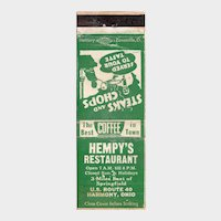 Vintage Hempy's Restaurant Harmony OH Matchbook Cover Ohio Matchcover