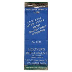 Vintage Hoover's Restaurant Columbus OH Organ Music Cocktails Matchbook Cover