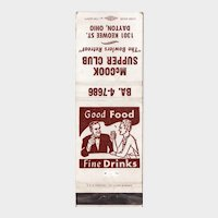 Vintage McCook Supper Club Restaurant Dayton OH Bowlers Retreat Matchbook Cover