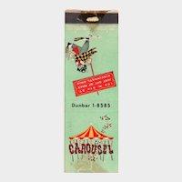 Vintage Carousel Cincinnati Merry Go Round Bar Matchbook Cover OH Ohio