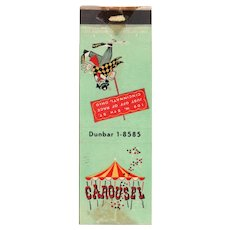 Vintage Carousel Cincinnati Merry Go Round Bar Matchbook Cover OH Ohio