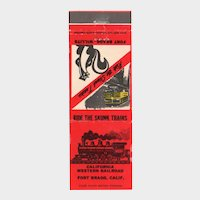 Vintage California Western Railroad Skunk Trains Fort Bragg CA Matchbook Cover