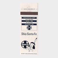 Vintage Ship Santa Fe Railroad Railway Matchbook Cover Indian Boy