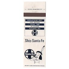 Vintage Ship Santa Fe Railroad Railway Matchbook Cover Indian Boy