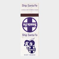 Vintage Ship Santa Fe Railroad Railway Matchbook Cover Two Indians