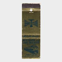 Vintage Bessemer & Lake Erie Railroad CO Pittsburgg PA Matchbook Cover