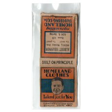 1920's Homeland Clothes Tailoring Co Matchbook Cover Diamond