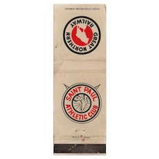 Vintage Great Northern Railway St Paul Athletic Club Matchbook Cover
