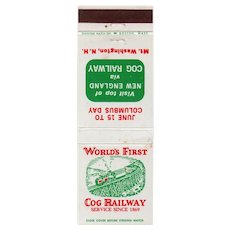 Vintage World's First Cog Railway Mt Washington New Hampshire Matchbook Cover NH