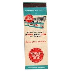 Vintage Missouri Pacific Lines Railroad Railway Matchbook Cover Trains