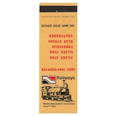 Vintage Historic New Zealand Locomotives Railroad Railway Matchbook Cover